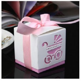 Pack of 10 Pram cut-out design Pink baby shower favour boxes with pink satin ribbon (60mm x 60mm x 60mm)
