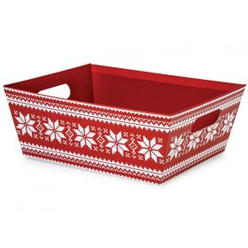 Set of 2 Nordic Snowflake LARGE market tray with wide base (30cm length x 24cm width x 11cm deep)