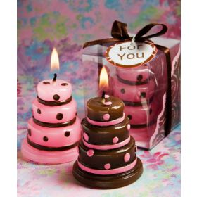 Cake candles pink/brown in clear PVC box (Pack of 10)