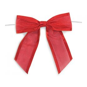 "1½"" Pre-Tied Organza Sheer Bows with satin edge - Red (Pack of 12)"