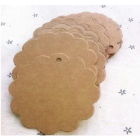 JEMPAK UK Pack of 25 blank round scalloped Kraft gift tags  (6cm diameter) for Packaging/Gift Wrapping/Card-making/General Decoration