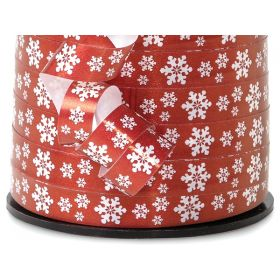 228M x 9mm Xmas Snowflakes Curling Ribbon