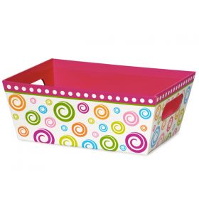 Set of 3 Swirls basket boxes wide base (23cm length x 18cm width x 9cm deep)