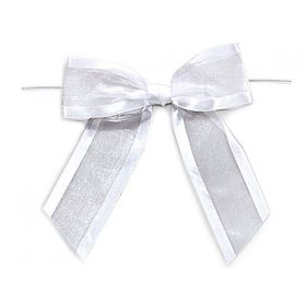 "1½"" Pre-Tied Organza Sheer Bows with satin edge - White (Pack of 12)"