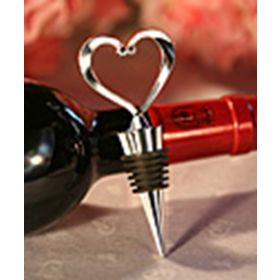Chrome heart bottle stopper in a white box (Pack of 10)