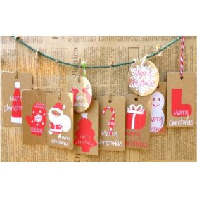 JEMPAK UK Pack of 20 assorted design Xmas print brown Kraft tags
