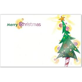 "Pack of 10 ""Merry Xmas Tree""  mini enclosure gift cards (9cm x 6cm)"