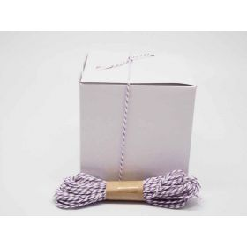 JEMPAK UK Pack of 10 white high Gloss Gift/favour boxes with hinged lid (10cm x 10cm x 10cm) with 10M Baker's twine -PURPLE
