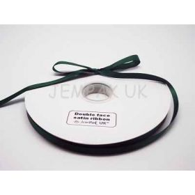5M x 10mm Double face satin ribbon - Forest green