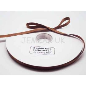 5M x 10mm Double face satin ribbon - Golden Brown
