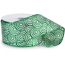 64mm Emerald Swirls wired edge Satin Ribbon  - (23M roll)