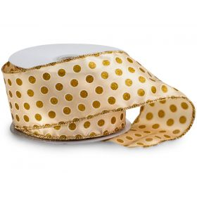 3M x 64mm CUT length Gold polka dot wired edge Satin Ribbon