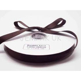 5M x 15mm Double face satin ribbon - Chocolate brown