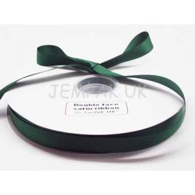 5M x 15mm Double face satin ribbon  - Forest green