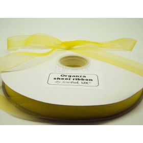5M x 15mm Sheer organza  ribbon - Brilliant Yellow