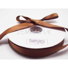 5M x 25mm Double face satin ribbon - Golden Brown