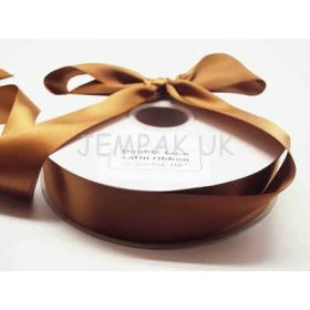 5M x 38mm Double face satin ribbon - Golden brown