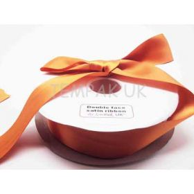 5M x 38mm Double face satin ribbon - Golden orange