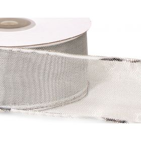 38mm Silver wired edge metallic ribbon - Silver (23M roll)