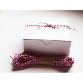 JEMPAK UK Pack of 10 white high Gloss Gift/favour boxes with hinged lid (10cm x 10cm x 5cm) with 10M Baker's twine - HOT PINK