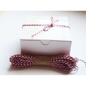 JEMPAK UK Pack of 10 white high Gloss Gift/favour boxes with hinged lid (10cm x 10cm x 5cm) with 10M Baker's twine -RED