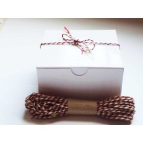 JEMPAK UK Pack of 10 white high Gloss Gift/favour boxes with hinged lid (10cm x 10cm x 5cm) with 10M Baker's twine -XMAS COLOUR