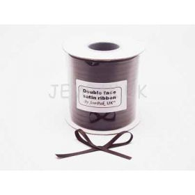 5M x 5mm Double face satin ribbon - Chocolate brown