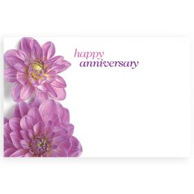 "Pack of 10 ""Happy Anniversary"" Flowers mini enclosure gift cards (9cm x 6cm)"