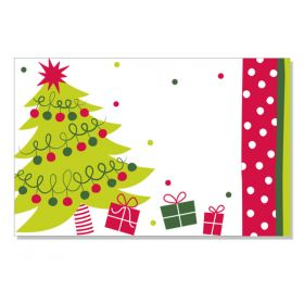 Pack of 10 Jolly Christmas Tree mini enclosure gift cards (9cm x 6cm)