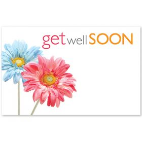 "Pack of 10 ""Get Well Soon"" Daises mini enclosure gift cards (9cm x 6cm)"