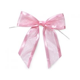 "1½"" Pre-Tied Organza Sheer Bows with satin edge - Baby pink (Pack of 12)"