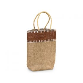 Natural Burlap/Hessian tote bag/gift bag with chocolate stitch and jute cord handle