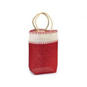 Deep Red Burlap/Hessian tote bag/gift bag with chocolate stitch and jute cord handle