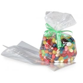 "Pack of 50 Medium clear gusseted cellophane sweets / Party / Gift bags (3½"" x 2¼ "" x 9¾"")"