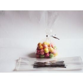 "Pack of 50 small clear gusseted cellophane sweets / Party / Gift bags (3"" x 1¾"" x 8¼"") including 4"" Silver metallic twist ties"
