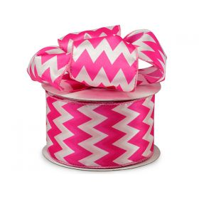 3M x 64mm CUT length Chevron pattern wired edge Satin ribbon  - Hot Pink