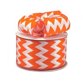 3M x 64mm CUT length Chevron pattern wired edge Satin ribbon - Tropical Orange