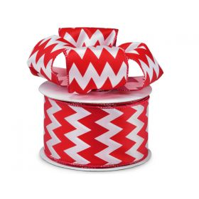 3M x 64mm CUT length Chevron pattern wired edge Satin ribbon  - Red