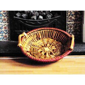 Round willow wicker deli tray with side wooden handles