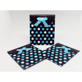 BLUE Polka dot tab top tote gift bag with satin ribbon (Pack of 6)