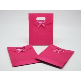 Hot pink plastic tab top box gift bag with satin ribbon (Pack of 10)
