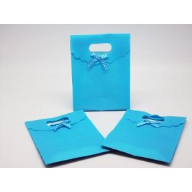 Turquoise blue plastic tab top box gift bag with satin ribbon (Pack of 10)
