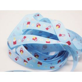 5M x 10mm baby bottle & teat grosgrain ribbon - baby blue