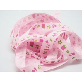 5M x 10mm baby bottle & teat grosgrain ribbon - baby pink