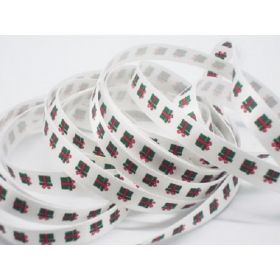 5M x 10mm single face satin merry xmas present ribbon - white
