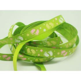 5M x 10mm Grosgrain Baby feet ribbon - Green Flash