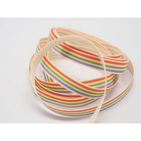 5M x 10mm multi-coloured grosgrain stripe pattern ribbon - red/green/purple on cream background