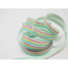 5M x 10mm multi-coloured grosgrain stripe pattern ribbon - pink/yellow/green on pale green background