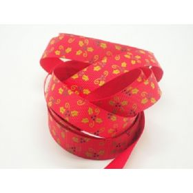 5M x 15mm grosgrain  Xmas mistletoe ribbon  - Red