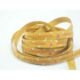 5M x 10mm grosgrain Merry Xmas tree ribbon  - Gold